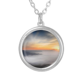 Fog over the mountains of japan during sunrise silver plated necklace