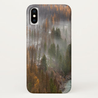Fog Rolls In On Autumn Larch Trees iPhone X Case