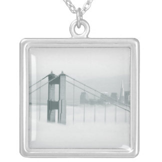 Fog rolls through the San Francisco bay 2 Square Pendant Necklace