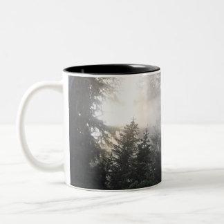 Fog & Sun Beams in a Washington Forest Two-Tone Coffee Mug