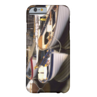 Fog surrounds four boats docked. barely there iPhone 6 case