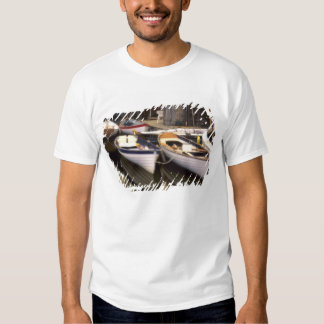 Fog surrounds four boats docked. t shirt