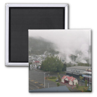 Foggy Area Of Whakarewarewa Geothermal At Rotorua Square Magnet