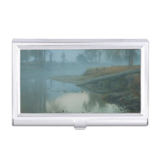 Foggy Bitterroot River Morning Design Business Card Holder
