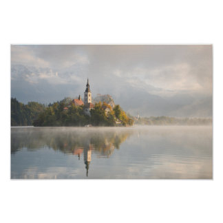 Foggy Bled Lake sunrise poster