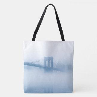Foggy Brooklyn Bridge Tote Bag