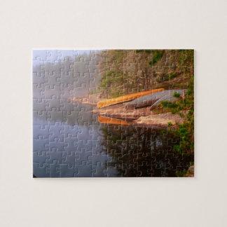 Foggy Canoe Campsite, Lake Kawnipi, Jigsaw Puzzle