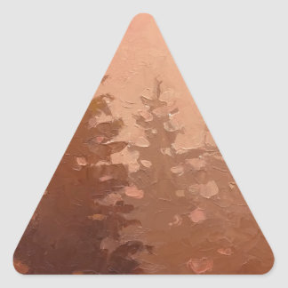 Foggy Cedar Trees in Warm Colors Triangle Sticker