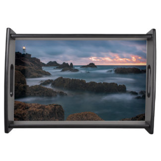 Foggy Corbiere Lighthouse in Jersey Serving Tray