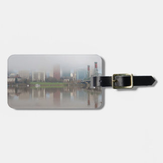 Foggy Day along Portland OR Waterfront Panorama Luggage Tag