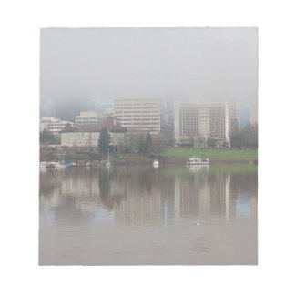 Foggy Day along Portland OR Waterfront Panorama Notepad