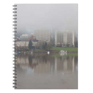 Foggy Day along Portland OR Waterfront Panorama Spiral Notebook