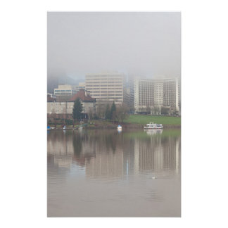 Foggy Day along Portland OR Waterfront Panorama Stationery