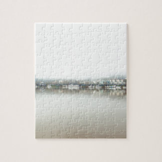 Foggy Day on Portland OR Downtown Waterfront Jigsaw Puzzle