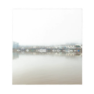 Foggy Day on Portland OR Downtown Waterfront Notepad