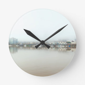 Foggy Day on Portland OR Downtown Waterfront Round Clock