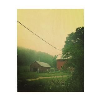 Foggy Farmyard Wood Print