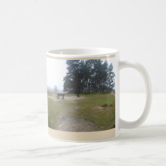 Foggy Heathland with Bench Panoramic Landscape Mug