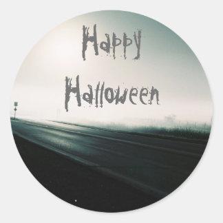 Foggy highway halloween round sticker