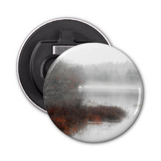 Foggy Lake on a Winter Day Bottle Opener