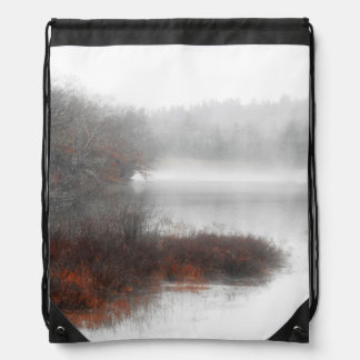 Foggy Lake on a Winter Day Drawstring Bag