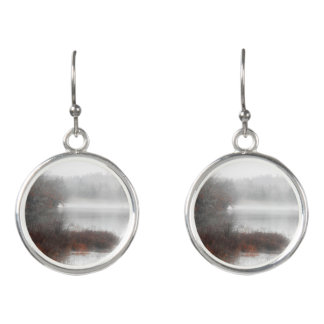Foggy Lake on a Winter Day Earrings