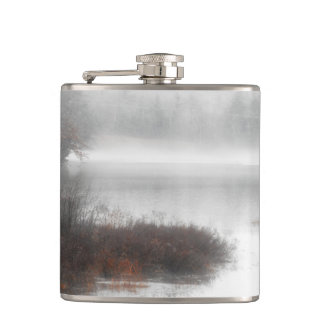 Foggy Lake on a Winter Day Hip Flask