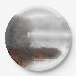 Foggy Lake on a Winter Day Paper Plate