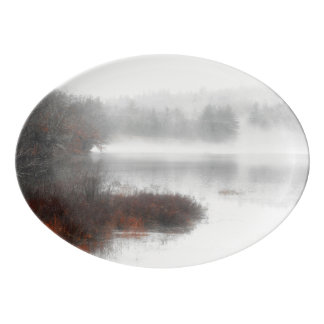 Foggy Lake on a Winter Day Porcelain Serving Platter