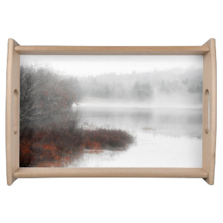 Foggy Lake on a Winter Day Serving Tray