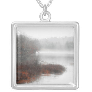 Foggy Lake on a Winter Day Silver Plated Necklace