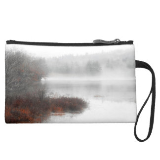 Foggy Lake on a Winter Day Suede Wristlet