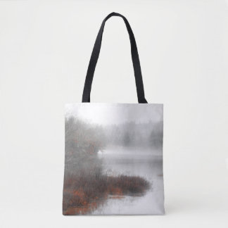 Foggy Lake on a Winter Day Tote Bag