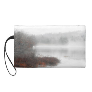 Foggy Lake on a Winter Day Wristlet