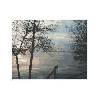 Foggy Lake Sunrise Canvas Print