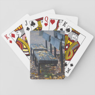 Foggy morning park bench, Germany Playing Cards