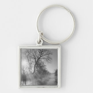 Foggy River Morning Sunrise Silver-Colored Square Key Ring