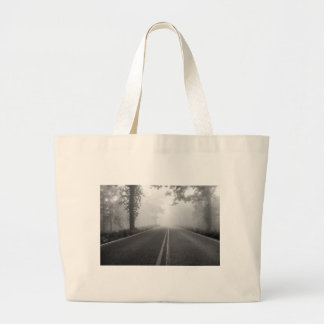 Foggy road large tote bag