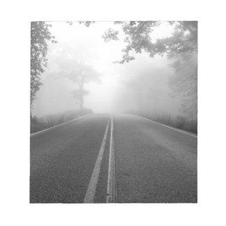 Foggy road notepad