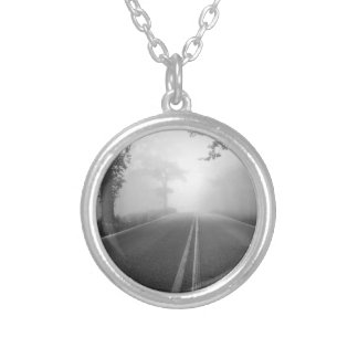 Foggy road silver plated necklace