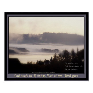 foggy sunrise Columbia River Rainier Oregon 2 Poster