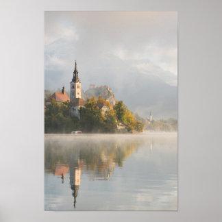 Foggy sunrise Lake Bled vertical poster