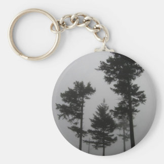 Foggy Trees Basic Round Button Key Ring