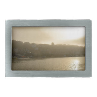 Foggy Whitby morning Belt Buckles