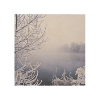 Foggy Winter Day by the River Wood Canvases