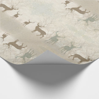 Foggy Woodland Scene with Soft Deer Silhouettes Wrapping Paper