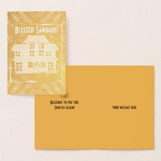 Foil Antique Haunted House Samhain Foil Card