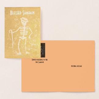 Foil Antique Skeleton Samhain Foil Card