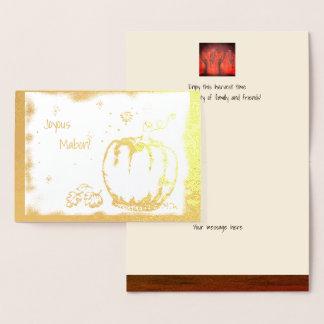 Foil Autumn Equinox Pumpkin Mabon Harvest Home Foil Card