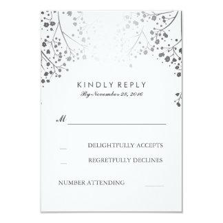 Foil Baby's Breath Silver Wedding RSVP Cards 9 Cm X 13 Cm Invitation Card